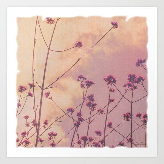 Vintage Pink Wildflowers with Dusty Purple Sky Background Art Print