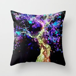 Wild Neon Apple Tree Watercolor by CheyAnne Sexton Throw Pillow