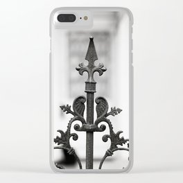 New Orleans Marigny Black and White Fence Clear iPhone Case