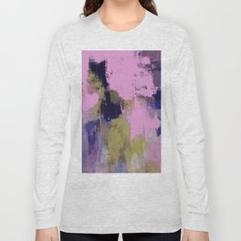 Wild Lilac - Abstract, textured, lilac, purple, blue and yellow oil painted artwork Long Sleeve T-shirt