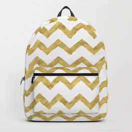 Chevron Gold And White Backpack