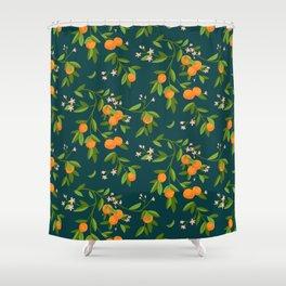 Citrus Tree - Navy Shower Curtain