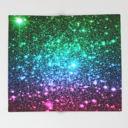 glitter Cool Tone Ombre (green blue purple pink) Throw Blanket