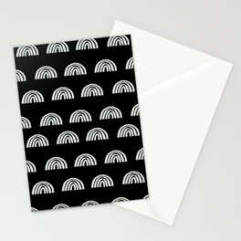 Linocut rainbow black and white half circle geometric minimalist nursery dorm college pattern Stationery Cards