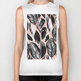 Calathea black & grey leaves with pale background Biker Tank
