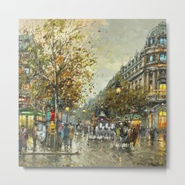 Paris, Autumn Cityscape by Antoine Blanchard Metal Print