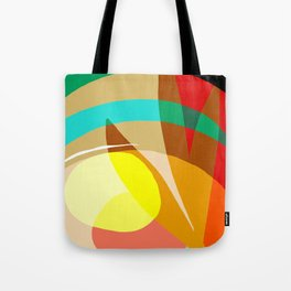 Shapes and Layers no.7 - Modern circles, stripes and leaves Tote Bag