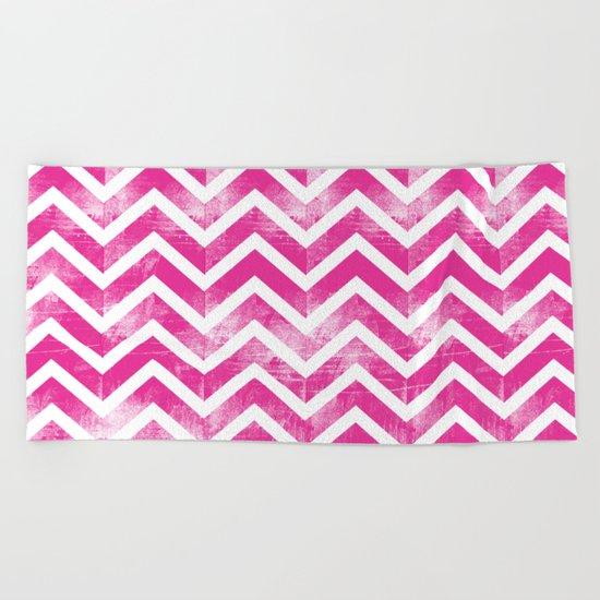 Maritime Pink White Chevron Herringbone ZigZag - Mix & Match Beach Towel