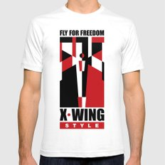 X-Wing style SMALL White Mens Fitted Tee
