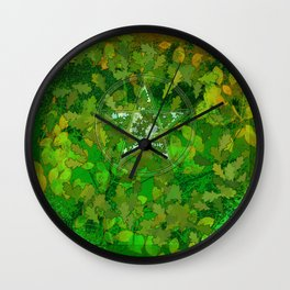 Leaf Ghosted Pentacle Wall Clock