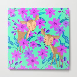 Cute wild sweet little baby deer fawns lost in the forest of blooming pink flowers illustration. Metal Print