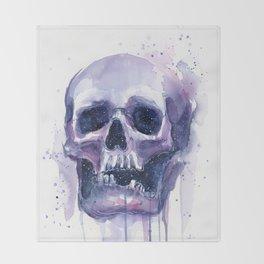 Skull in Watercolor Galaxy Space Throw Blanket
