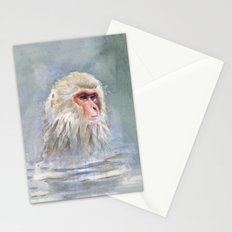 Snow Monkey Watercolor Stationery Cards