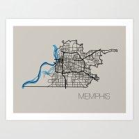 memphis Art Prints featuring Memphis by linnydrez