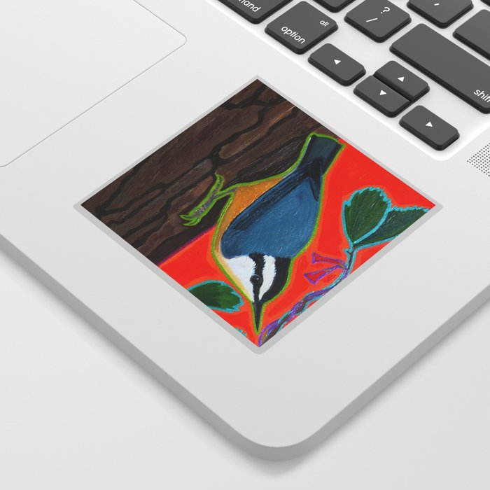Red Breasted Nuthatch Sticker by WrenDreams - Transparent - 3