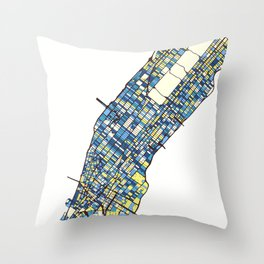 New York City Colorful Map Throw Pillow