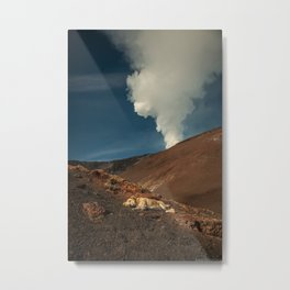 Doggy siesta on the warm rocks of mount Etna Metal Print