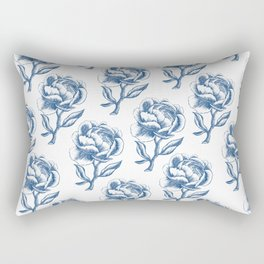 Classic Blue and White Peony Pattern Rectangular Pillow