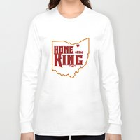 lebron Long Sleeve T-shirts featuring Home of the King (White) by Denise Zavagno