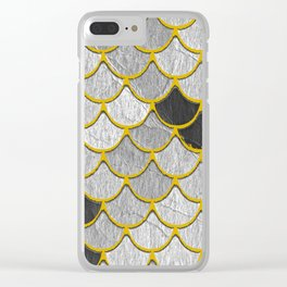 Dragon Scales with Yellow Outlines Clear iPhone Case