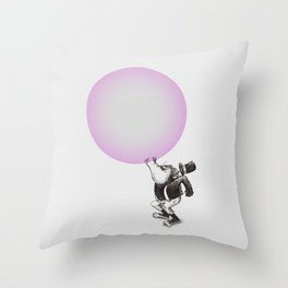 Bubblegum Blowing Champion Throw Pillow