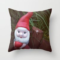 gnome Throw Pillows featuring Chubby Gnome by ADH Graphic Design