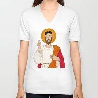 korean V-neck T-shirts featuring North Korean Jesus by Chris Piascik