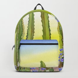 Tall Cactus and Bluebonnet Backpack