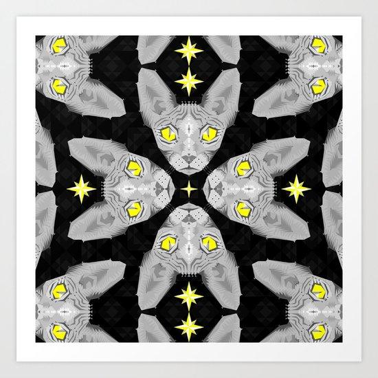 Sphynx Cat Black Pattern Art Print