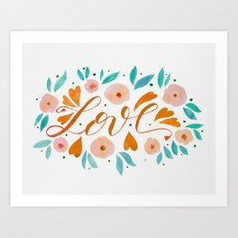 Love and flowers - orange and green Art Print