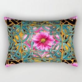 Black-gold & Aqua Fuchsia Dahlias Inter-twining Art Nouveau Rectangular Pillow