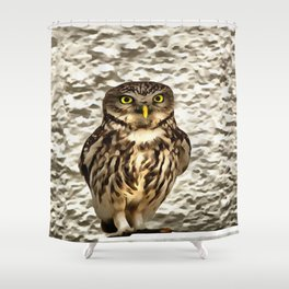 Small Owl In Camouflage Shower Curtain