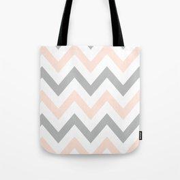 PEACH & GRAY CHEVRON Tote Bag