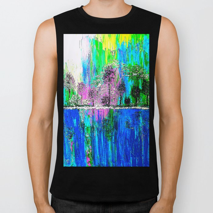 TREES OIL PAINTING Biker Tank