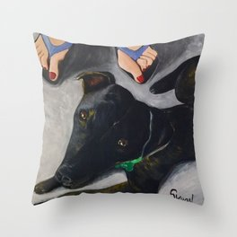 Under The Table Throw Pillow