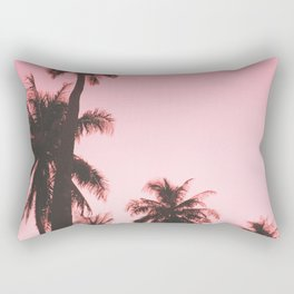 Tropical palm trees on beige pink Rectangular Pillow