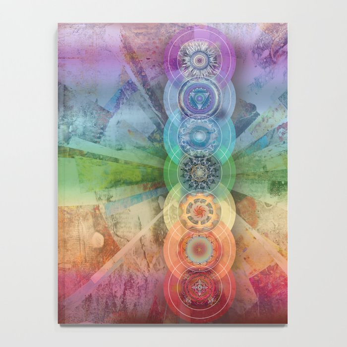 seven chakra meditation and yoga art Notebook
