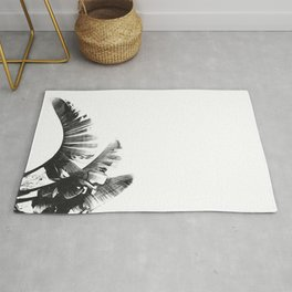 Palm leaves black and white tropical watercolor Rug