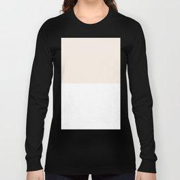 White and Linen Horizontal Halves Long Sleeve T-shirt