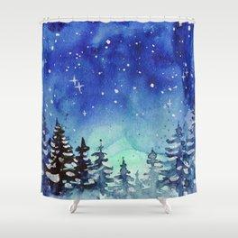 Winter Galaxy Forest Shower Curtain
