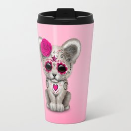 Pink Day of the Dead Sugar Skull White Lion Cub Travel Mug