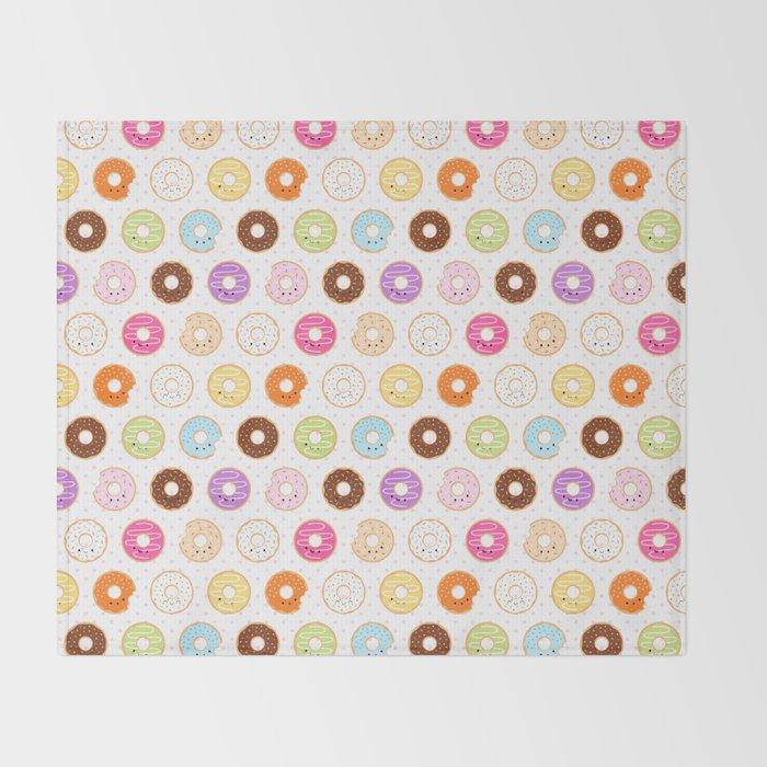 Happy Cute Donuts Pattern Throw Blanket