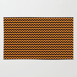 Mini Black and Pumpkin Orange Halloween Chevron Stripes Rug