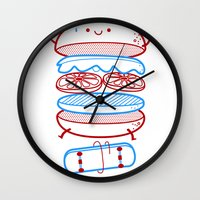 street Wall Clocks featuring Street burger  by SpazioC