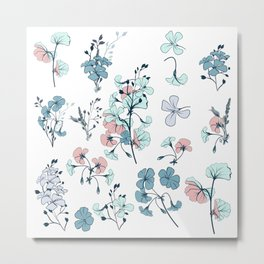 Collection of vector vintage style flowers in gentle pastel colors  Metal Print