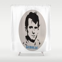 kerouac Shower Curtains featuring Jack Kerouac Record Painting by All Surfaces Design