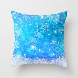 Blue Winter Snowflakes Pattern Christmas Decor Throw Pillow