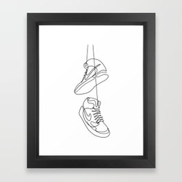 Sneakers simple minimal one line art, hanging shoes branded shoes  Framed Art Print