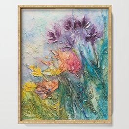 abstract flowers Serving Tray