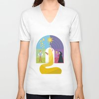 rapunzel V-neck T-shirts featuring Rapunzel by Rob Yeo Design